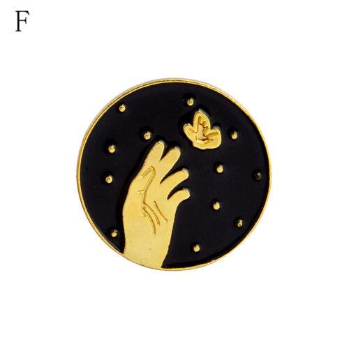 1XDark Moon Star Mountain Hand Badges Gothic Design Enamel Brooches Pins BlackP*