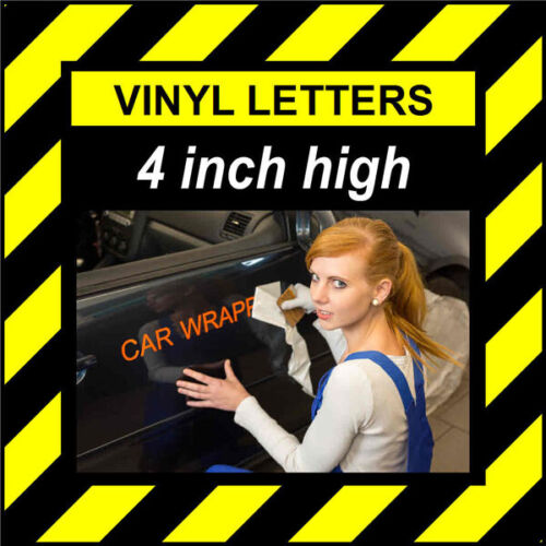 4 Characters 4 inch 100mm high pre-spaced stick on vinyl letters /& numbers