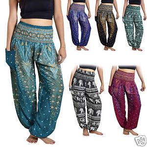 Thai-Harem-Trousers-Boho-Festival-Hippy-Smock-Waist-Elephant-Yoga-Pants-Rayon