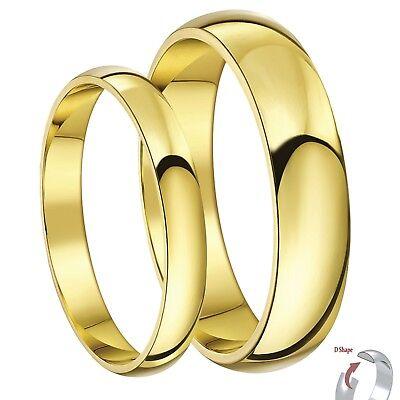 His Hers 3 5mm 9ct Yellow Gold Wedding Bands Men S Ladies Rings Set Ebay