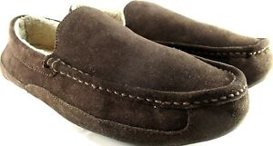 Brookstone-Men-Slippers-Size-10-Brown-Faux-Fur-Lined-Slip-Resistant-Soles