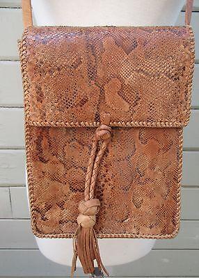 Vintage 60s Handmade Genuine Python Snakeskin Box Purse Handbag