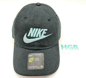 c7b366e87 Details about Nike Heritage 86 Futura Washed Hat Court Black Teal Unisex  626305-016 NWT