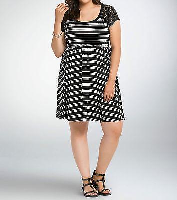 8a0682877f620 Torrid Plus Size Black White Striped Lace Inset Skater Knit Dress 00 ...