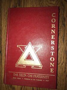 1987-DELTA-CHI-FRATERNITY-CORNERSTONE-MANUAL-HARD-COVER-California-Chapter