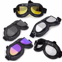 Wwii Raf Vintage Aviator Pilot Motorcycle Half German Helmet Goggles Black Multi