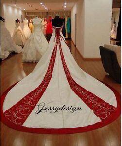 Vintage Brautkleid Hochzeitskleid A Linie Weiss Weinrot Stickerei
