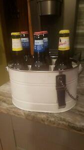 Pottery Barn Partyware White Metal Bucket Drink Flatware