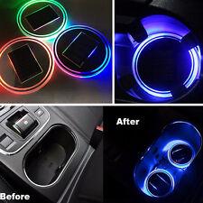 Solar Cup Holder Bottom Pad LED Light Cover Non-slip Trim Atmosphere Car Lamp