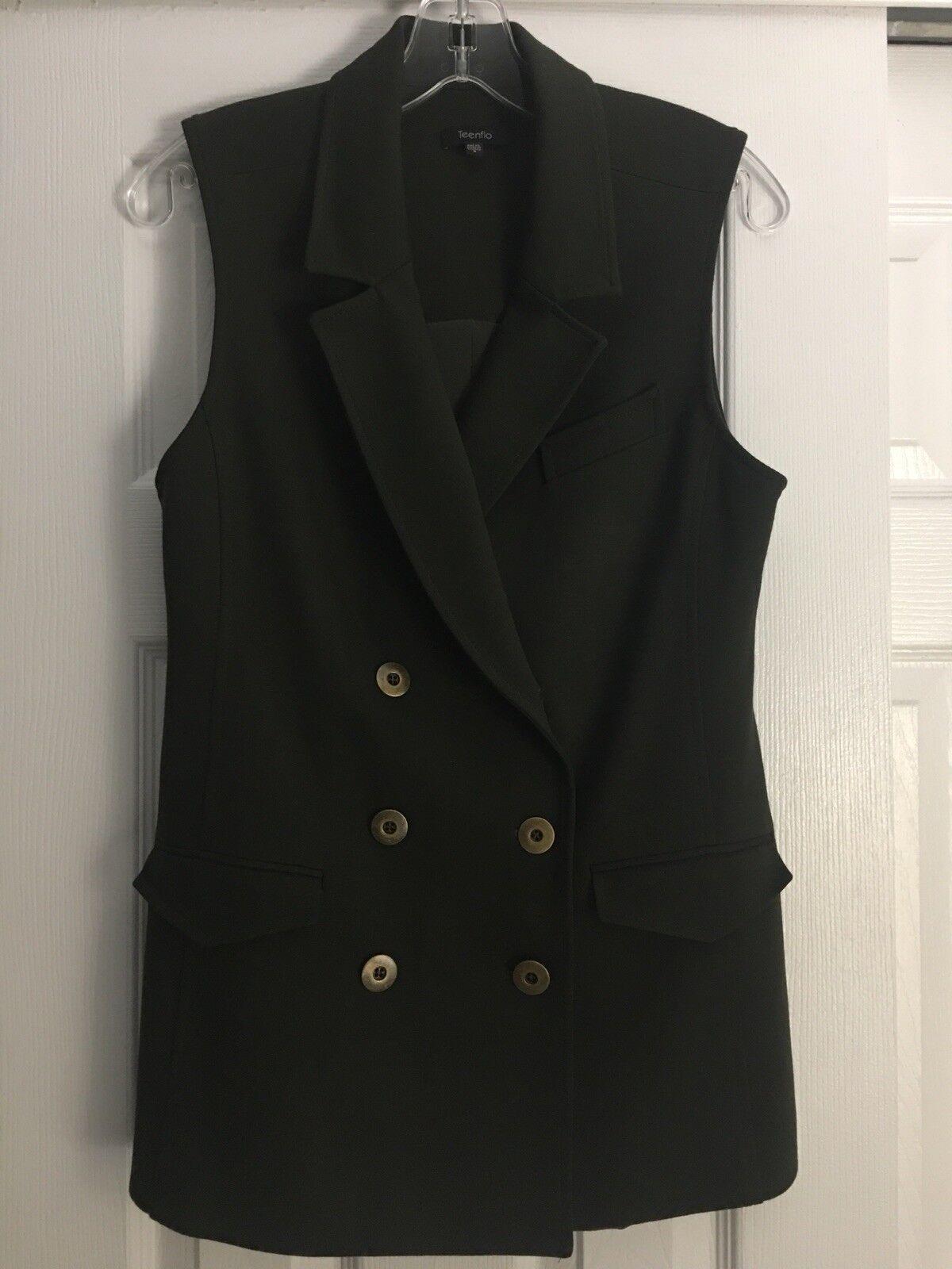 4304e050ee9 TeenFlo Womens Size 6 Dark Green Blazer Sleeveless nwmrzg5495-Coats ...