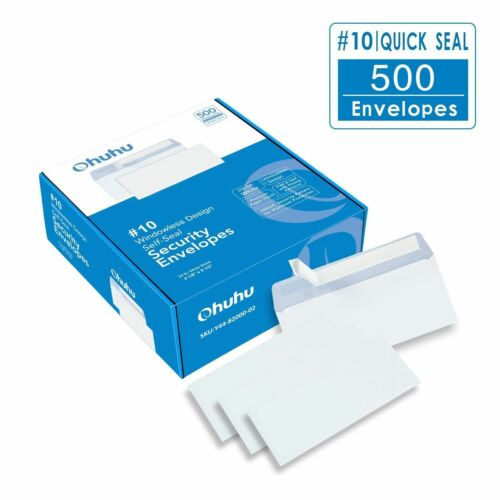 Envelopes Seal Windowless 500Pcs #10 Business Security Tint Letters US Stock