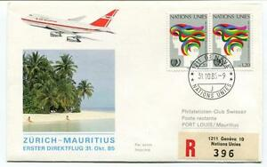 Ffc 1985 Air Mauritius First Flight Zurich Mauritius Port Louis Registered Onu Doux Et Doux