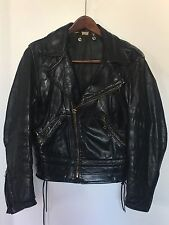 Vintage Leather Motorcycle Police Jacket by Leather Forever Men Medium