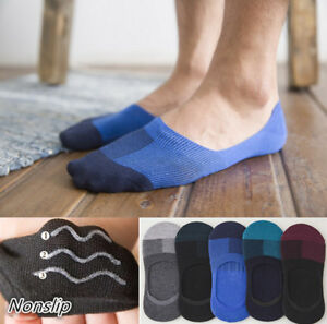 5 Pairs Men Cotton No Show Invisible Striped Nonslip Loafer Boat Socks Low Cut