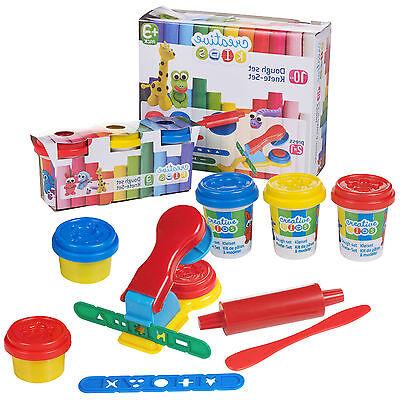 10 Piece Creative Kids Play Dough Craft Gift Set 5 Tubs Roller Moulds & Press