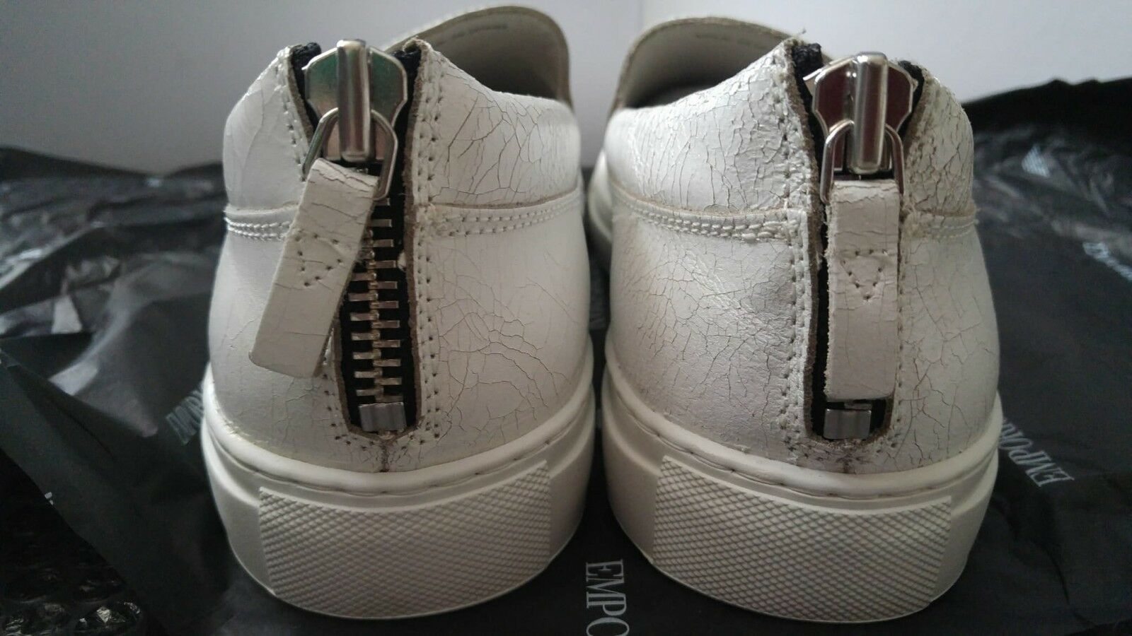 Emporio Armani zip slip-on zip vintage look & back zip slip-on trainers - Leather e27c48