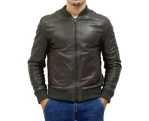 bomber giacca pelle grigio uomo