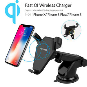 10W Gravity Qi Wireless Fast Charger Car Air Vent Dashboard Holder For iPhone 8