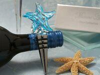 50 Murano Glass Ocean Blue Beach Starfish Wine Bottle Stopper Wedding Favor