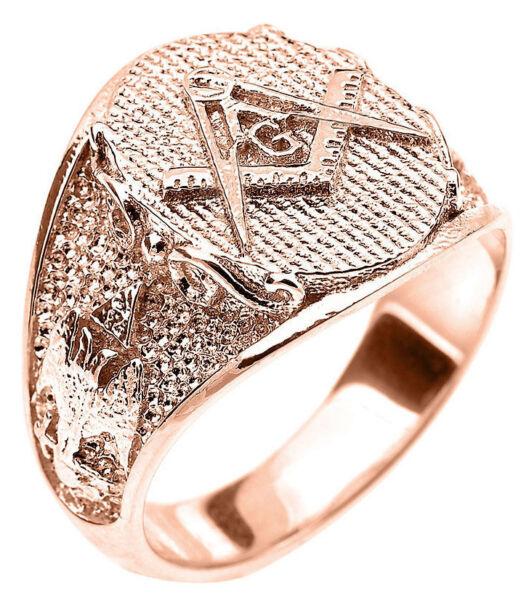 14k Solid Rose Gold Freimaurer Herren Ring Schottisch Rite