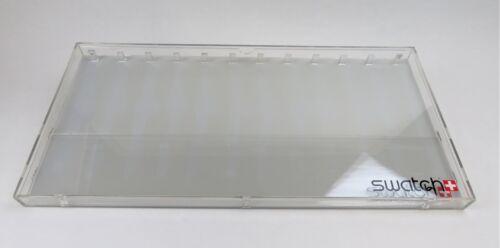 Schaukasten aus Plexiglas und 3 cm hoch Swatch Uhren