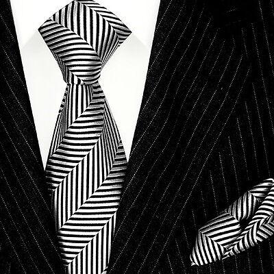 8403001 LORENZO CANA Italian Tie Set Hanky 100% Silk Black White Herringbone