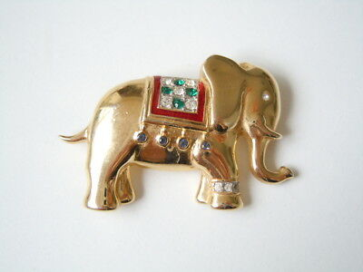 "Vergoldete Modeschmuck Strass Brosche ""elefant"" 12 G 4,5 X 2,8 Cm Jewelry & Watches"