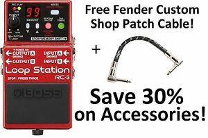 New-Boss-RC-3-Loop-Station-Guitar-Pedal-FREE-Fender-Custom-Shop-Patch