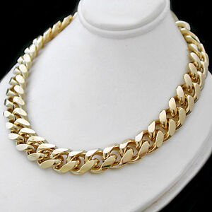 """LIFETIME GUARANTEE 20/"""" 11mm ROUNDED CURB Link BOLT RING 14k GOLD GL Necklace"""