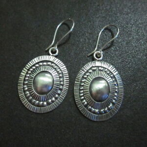 Earrings Hill Tribe Fine Silver Round Hand Craft Double Oval Rings er020