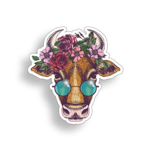 Groovy Cow Sticker Peace Flower Laptop Cup Car Vehicle Window Bumper Vinyl Decal