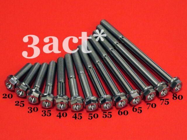 2 M6 x 15,20,25,30,35,40,45,50,55,60,65,70,75,80mm Titanium//Ti Flange Hex Bolt