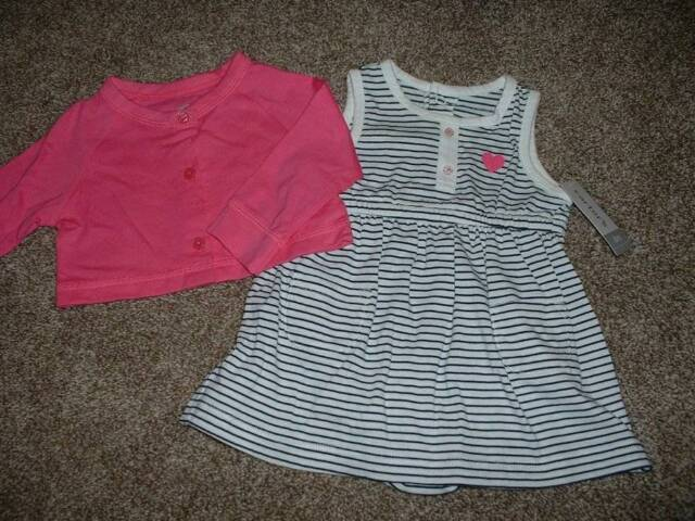 Carter's Baby Girls Striped Dress Cardigan Set Size 6 Months 6M NWT NEW 3-6 mos