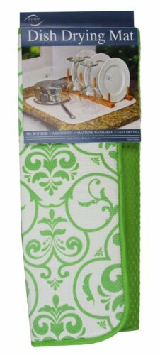 Lime Damask 16 by 18-Inch Envision Home 436100 Microfiber Dish Drying Mat
