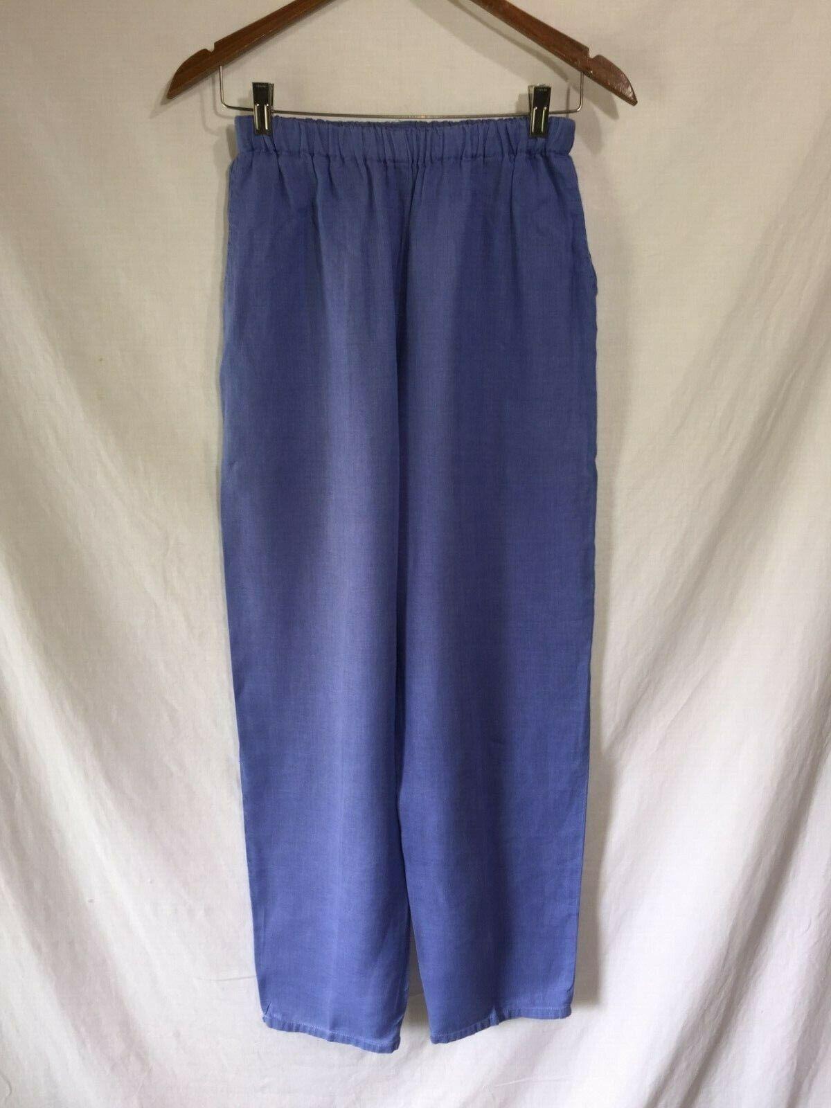 FLAX by Jeanne Engelhart Long Taperot Bright Blau Linen Beach Pants S
