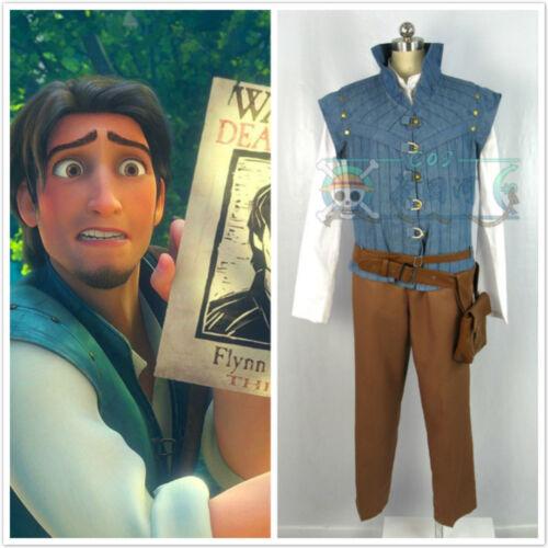 New! Movie Enchanted Tangled Rapunzel Prince Flynn Rider Cosplay Costume DD.58