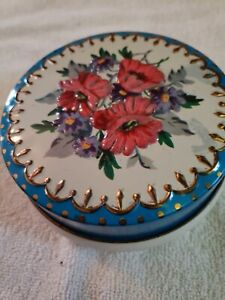 Vintage-Rileys-Toffee-Small-Tin-Blue-Paint-W-Red-Embossed-Flowers