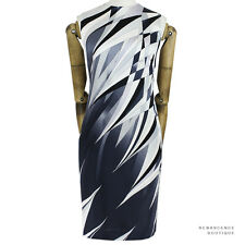 Emilio Pucci Black White Grey Shard Pattern Silk Satin Shift Dress IT46 UK14