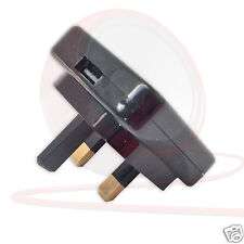 UK Mains USB Charger. MASTERPLUG. Polished Black Plug Top. iPhone iPad, Samsung.