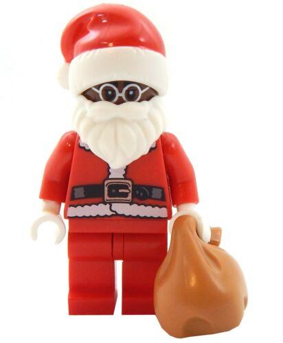 NEW LEGO SANTA CLAUS MINIFIG Christmas minifigure mall figure brown skin black