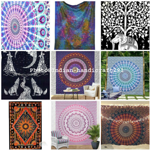 Indian Mandala Wall Hanging Tapestry Hippie Bohemian Bedding Bedspread Throw