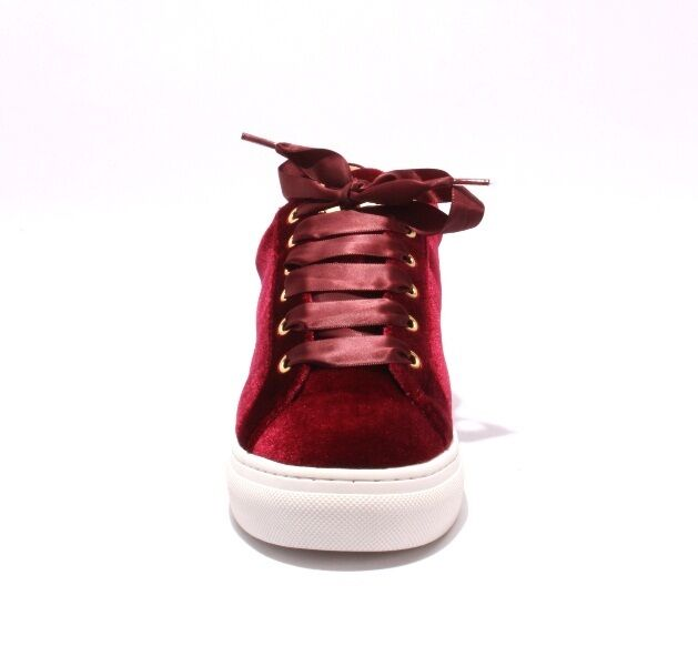 Gianni Renzi Couture 3178b 3178b 3178b Burgundy Velour   Leather Lace-Up Sneakers 39   US 9 7d2ab6