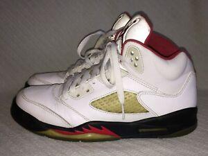 YOUTH-GS-Size-6-5-Y-Nike-Air-Jordan-5-V-RetroWhite-Gym-Red-Sneakers-440888-100