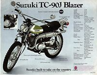 1972 Suzuki Tc-90j Blazer 89cc Motorcycle Sales Brochure/flyer, (reprint) $6.50