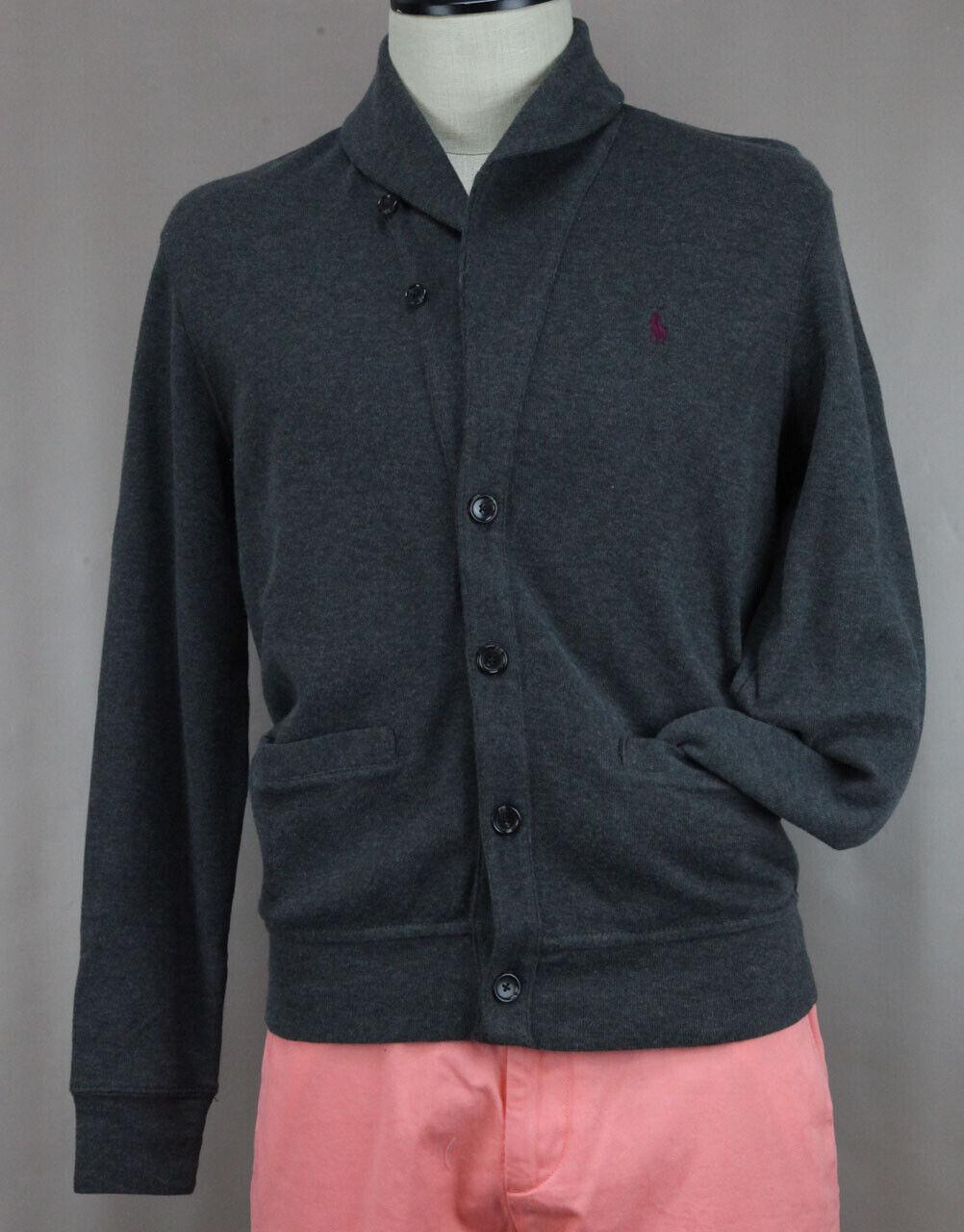 Polo Ralph Lauren Men/'s Heather Gray Cotton Button Up Sweater Ret $115 New
