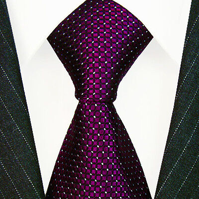 84466 Lorenzo Cana - Marken Krawatte 100% Seide Violett Aubergine Punkte Weiss