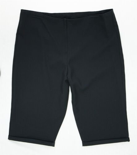 Bnwt New Size 12-22 Plain Black Knee Length Shorts Fitted Waist Ladies