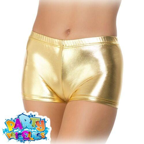 Adults Ladies Fever Miss Whiplash Gold Silver Black Shorts Hot Pants Fancy Dress
