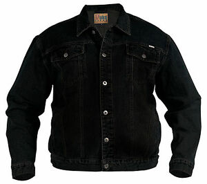 New-Mens-Quality-Kingsize-Big-Denim-Trucker-Jean-Jacket-Black