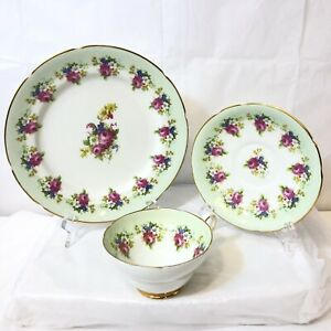 VTG-Stanley-Bone-China-England-Tea-Cup-Saucer-amp-Underplate-Pink-Roses-Green-Band